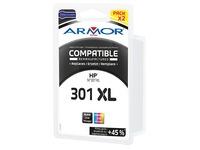 Pack inktpatronen Armor voor inkjetprinters kleur compatibel met HP 301XL