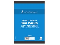 Sleeve 200 double copies not perforated Conquérant Sept A4 size 21 x 29,7 cm big squares
